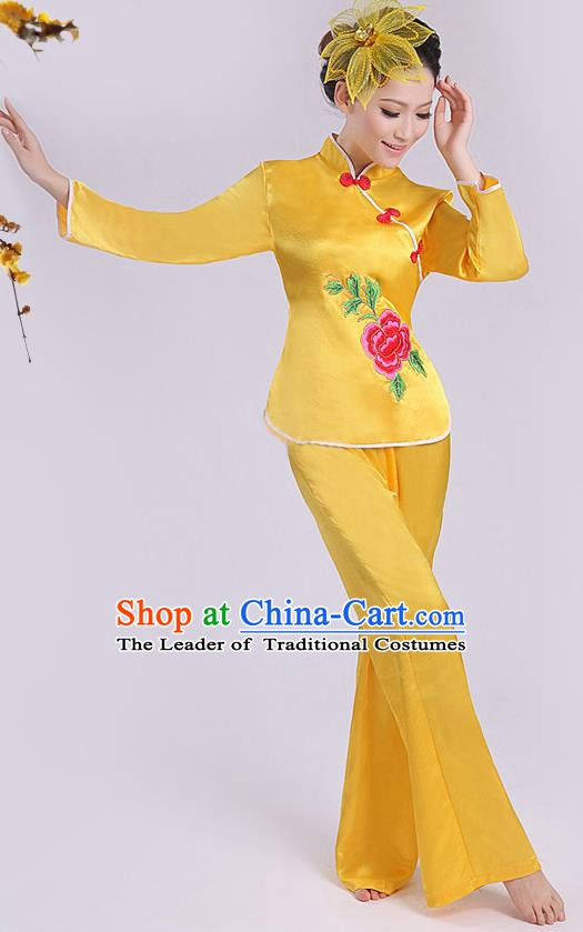 Chinese Traditional Fan Dance Costume, China Folk Dance Yellow Uniform Yangko Clothing for Women