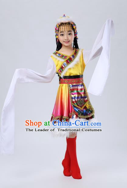 Traditional Chinese Mongol Nationality Dance Costume, Mongols Children Folk Dance Ethnic Pleated Skirt for Kids