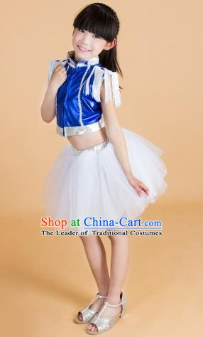 Chinese Classical Stage Performance Modern Dance Blue Costume, Children Jazz Dance Bubble Dress for Kids