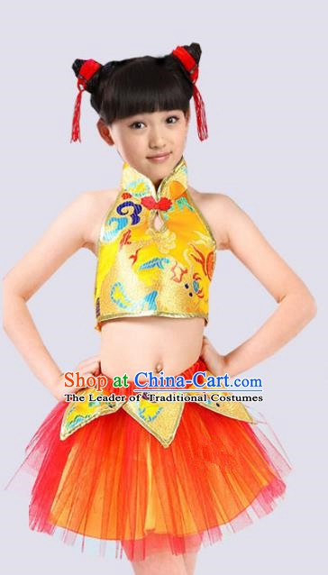 Chinese Classical Folk Dance Costume, Children Yangko Dance Clothing for Kids