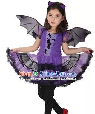 Children Halloween Dance Costume Cosplay Clothing Purple Dress for Kids