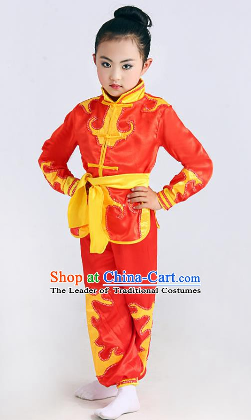 Traditional Chinese Martial Arts Costume, Folk Dance Waist Drum Dance Red Uniform Yangko Clothing for Kids