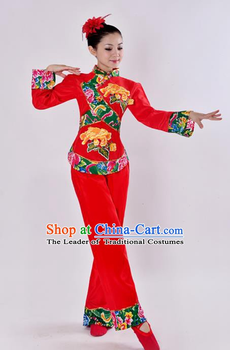 Chinese Classic Stage Performance Chorus Singing Group Costume, Chorus Competition Golden Dress for Women
