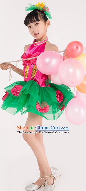 Chinese Classic Stage Performance Chorus Singing Group Costume Children Modern Dance Green Dress for Kids