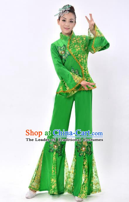 Chinese Traditional Fan Dance Costume Classical Dance Green Uniform Yangko Clothing for Women
