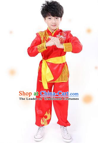 Traditional Chinese Yangge Dance Costume, Folk Dance Lion Dance Red Uniform Yangko Clothing for Kids
