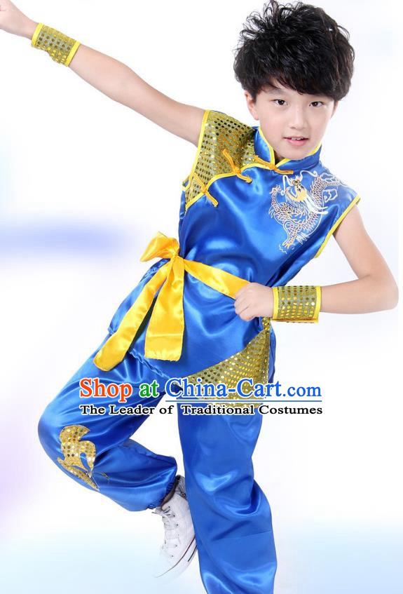 Traditional Chinese Yangge Dance Costume, Folk Dance Lion Dance Short Sleeve Blue Uniform Yangko Clothing for Kids