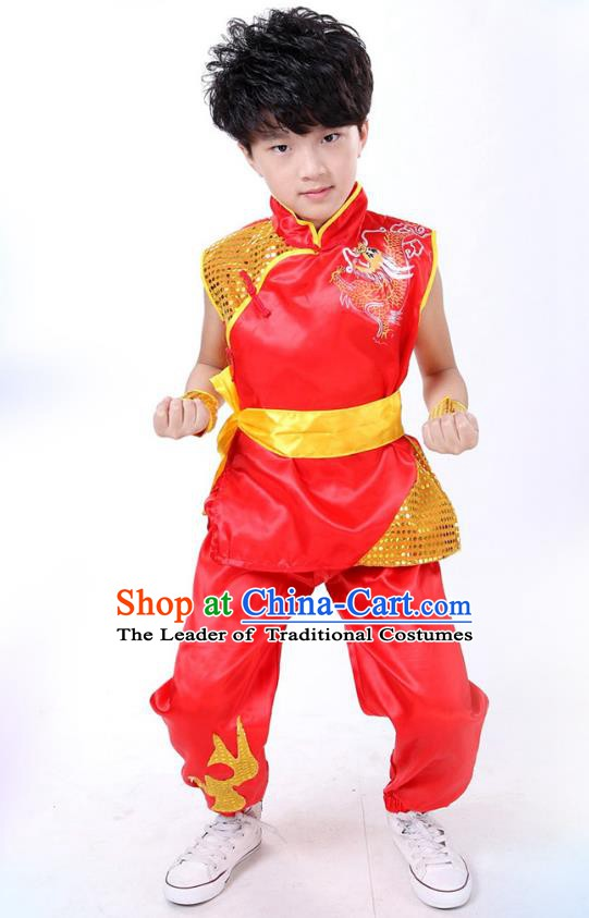 Traditional Chinese Yangge Dance Costume, Folk Dance Lion Dance Short Sleeve Red Uniform Yangko Clothing for Kids
