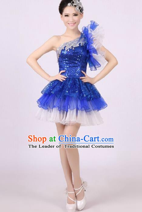 Chinese Classic Stage Performance Chorus Singing Group Costume Modern Dance Blue Dress for Women