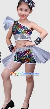 Top Grade Children Stage Performance Costume, Professional Jazz Dance Clothing for Kids