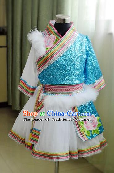 Traditional Chinese Zang Nationality Dance Costume, Chinese Tibetan Minority Dance Clothing for Kids