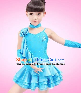 Top Grade Children Stage Performance Costume, Professional Latin Dance Blue Dress for Kids