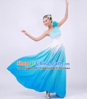 Top Grade Stage Performance Costume, Professional Chorus Blue Dress for Women