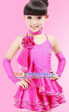 Top Grade Children Stage Performance Costume, Professional Latin Dance Rosy Dress for Kids