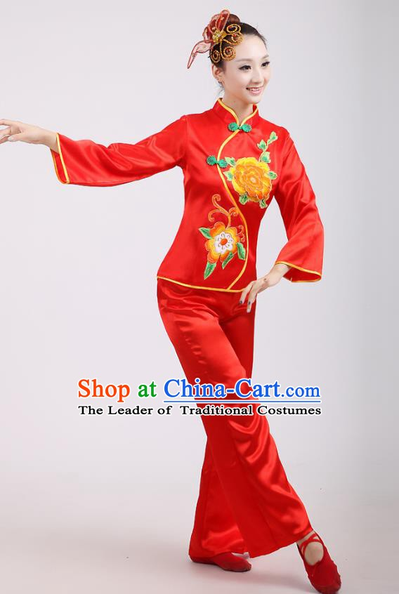 Chinese Traditional Classical Fan Dance Costume Folk Dance Red Uniform Yangko Clothing for Women