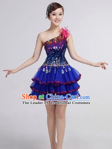 Top Grade Stage Performance Compere Costume, Professional Chorus Singing Group Blue Bubble Dress for Women