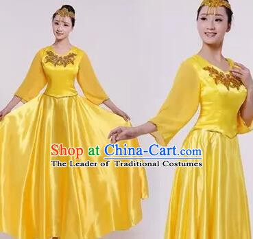 Top Grade Stage Performance Compere Costume, Professional Chorus Singing Group Yellow Dress for Women