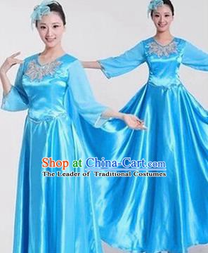 Top Grade Stage Performance Compere Costume, Professional Chorus Singing Group Blue Dress for Women