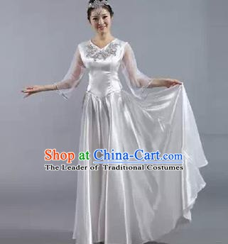 Top Grade Stage Performance Compere Costume, Professional Chorus Singing Group White Dress for Women