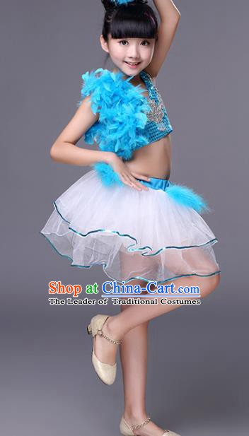 Traditional Chinese Modern Dance Costume Opening Dance Jazz Dance Blue Uniforms for Kids
