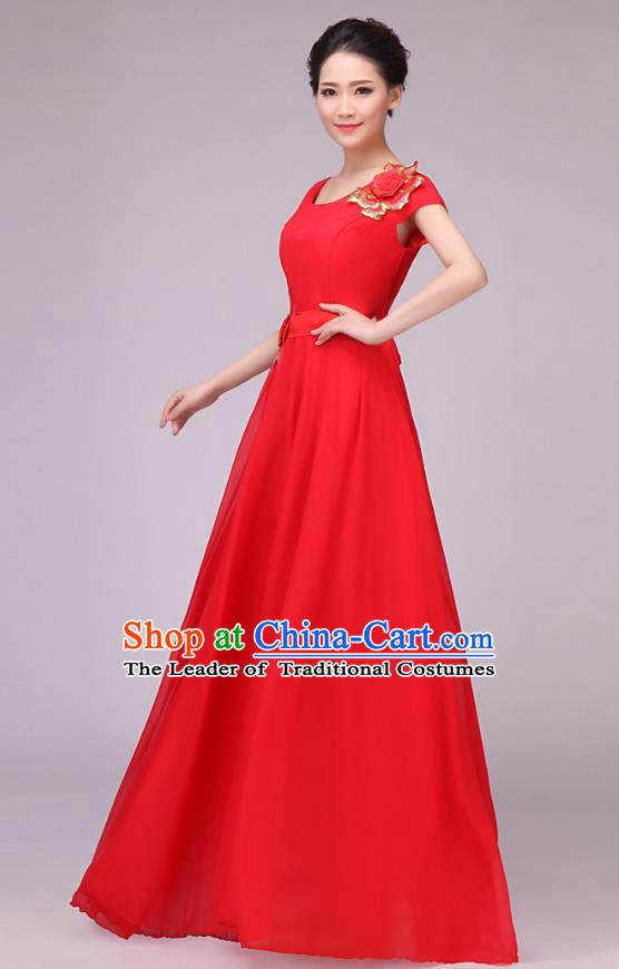 Traditional Chinese Modern Dance Compere Costume, Chorus Singing Group Dance Red Dress for Women