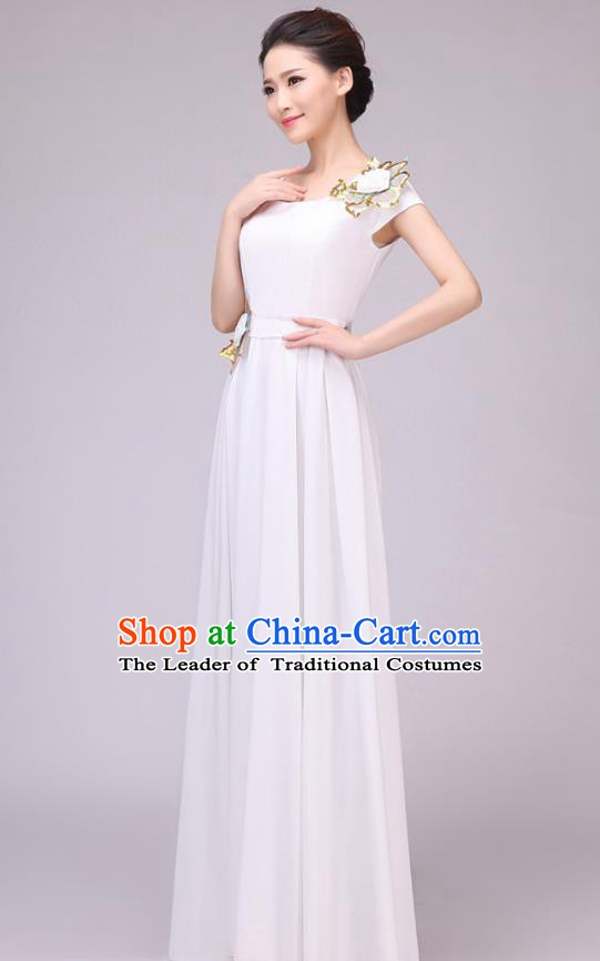 Traditional Chinese Modern Dance Compere Costume, Chorus Singing Group Dance White Dress for Women