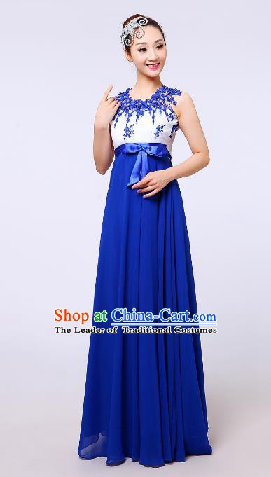 Traditional Chinese Modern Dance Compere Costume, Chorus Singing Group Blue Dress for Women