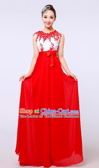 Traditional Chinese Modern Dance Compere Costume, Chorus Singing Group Red Dress for Women