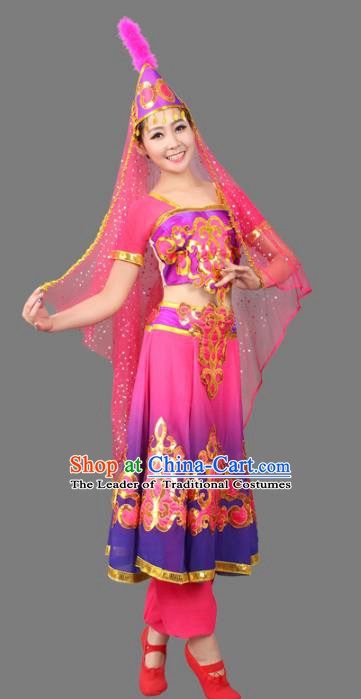 Traditional Chinese Uyghur Nationality Costume, Chinese Uigurian Minority Nationality Dance Dress for Women