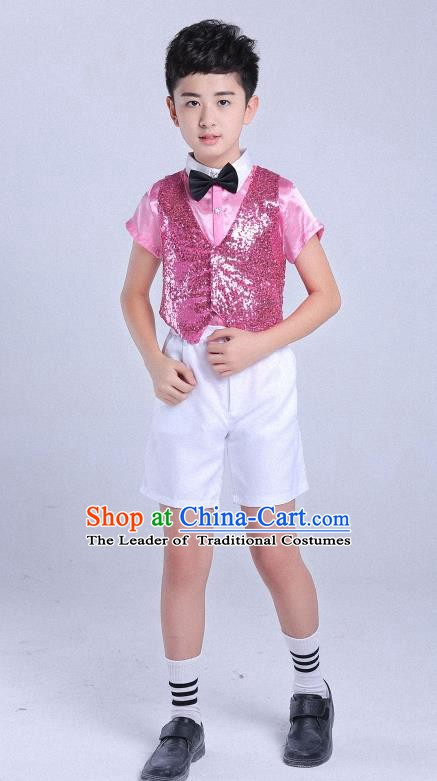 Traditional Chinese Modern Dance Compere Pink Costume, Chorus Singing Group Boys Clothing for Kids