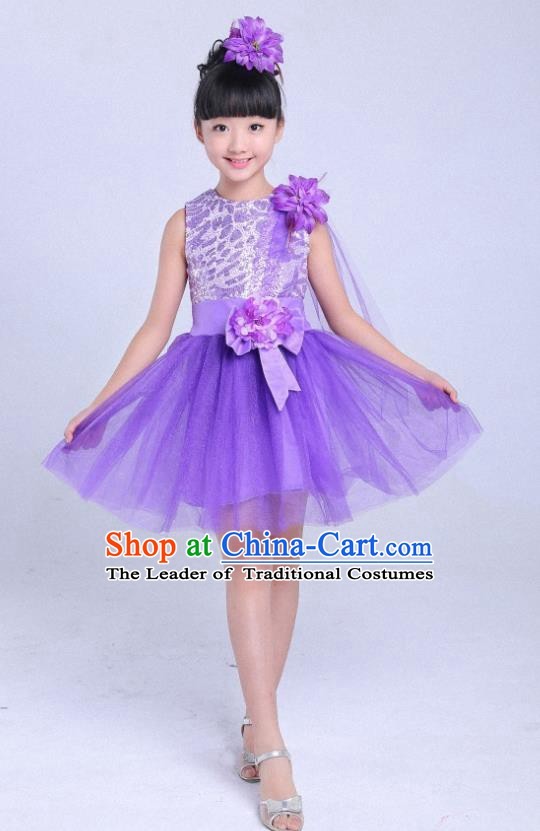 Children Modern Dance Compere Costume Purple Bubble Dress, Chorus Singing Group Girls Clothing for Kids