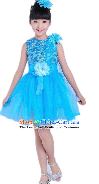 Children Modern Dance Compere Costume Blue Bubble Dress, Chorus Singing Group Girls Clothing for Kids
