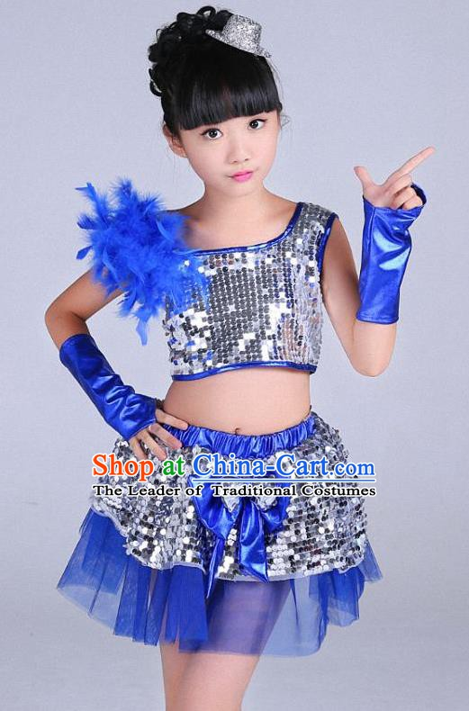 Children Modern Dance Jazziness Blue Bubble Dress, Chorus Singing Group Jazz Dance Clothing for Kids