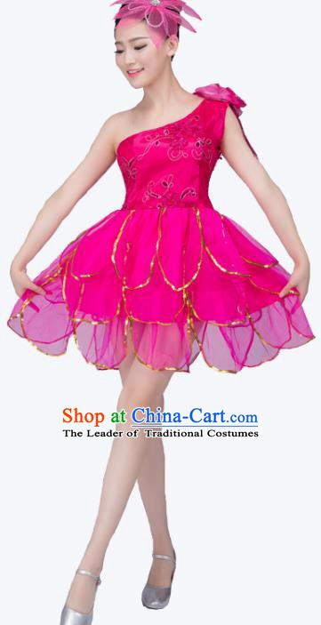 Top Grade Modern Dance Costume, Chorus Singing Group Dance Rosy Dress for Women
