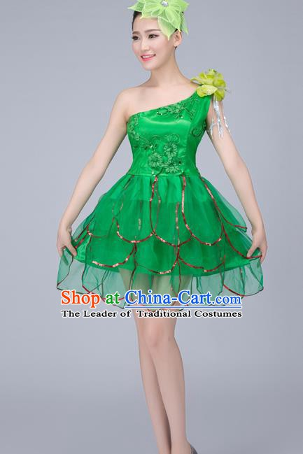 Top Grade Modern Dance Costume, Chorus Singing Group Dance Green Dress for Women