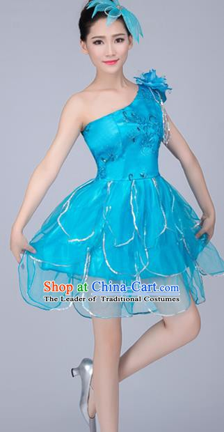Top Grade Modern Dance Costume, Chorus Singing Group Dance Blue Dress for Women