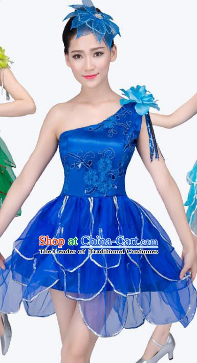 Top Grade Modern Dance Costume, Chorus Singing Group Dance Royalblue Dress for Women