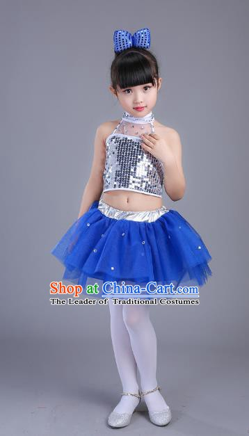 Top Grade Children Modern Dance Costume, Professional Jazz Dance Blue Clothing for Kids