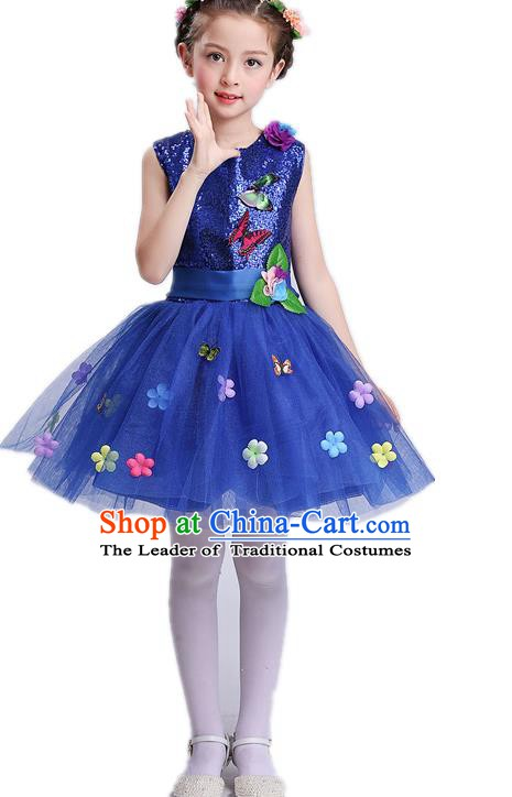Top Grade Children Modern Dance Costume, Professional Chorus Sing Group Blue Dress for Kids