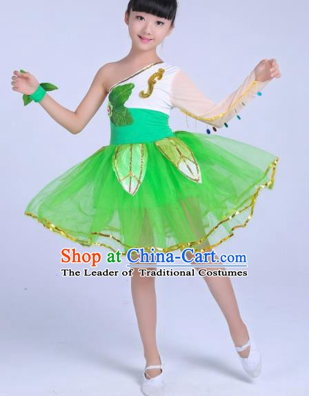 Top Grade Children Modern Dance Costume, Professional Chorus Sing Group Green Dress for Kids