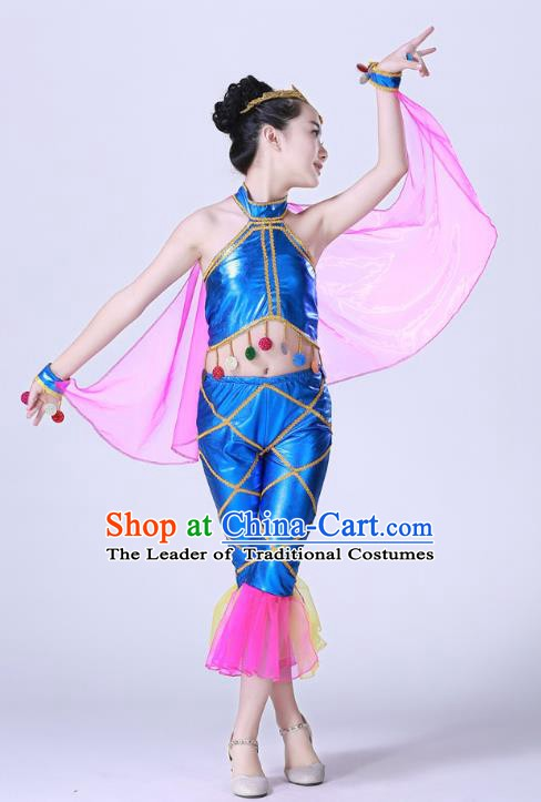 Top Grade Children Modern Dance Costume, Professional Cosplay Mermaid Blue Clothing for Kids