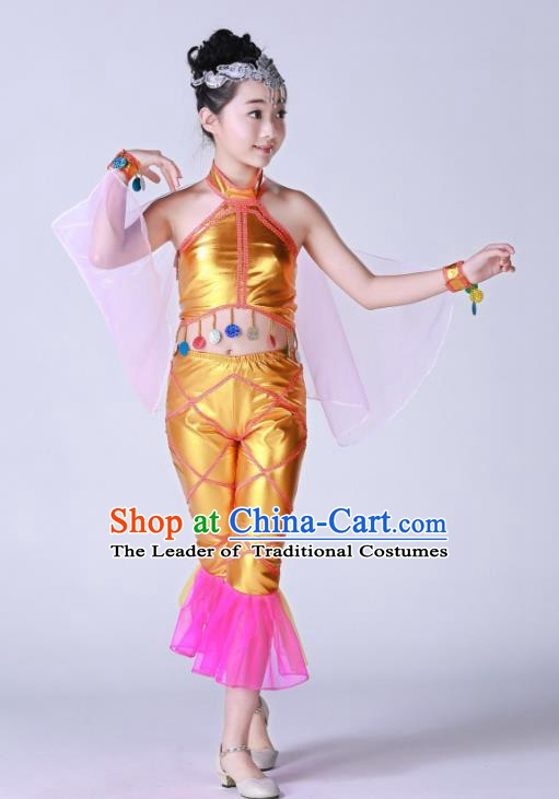 Top Grade Children Modern Dance Costume, Professional Cosplay Mermaid Golden Clothing for Kids