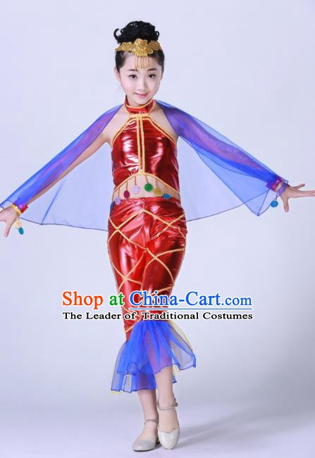 Top Grade Children Modern Dance Costume, Professional Cosplay Mermaid Red Clothing for Kids