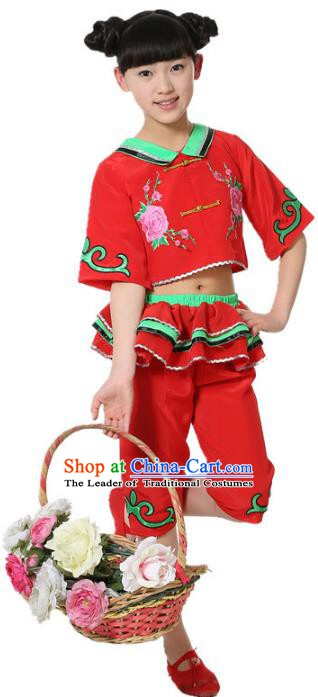 Top Grade Children Folk Dance Red Costume, Professional Yangko Dance Classical Dance Clothing for Kids