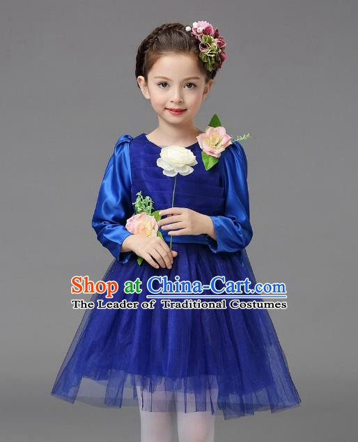 Top Grade Modern Dance Costume, Children Chorus Singing Group Dance Royalblue Veil Dress for Kids
