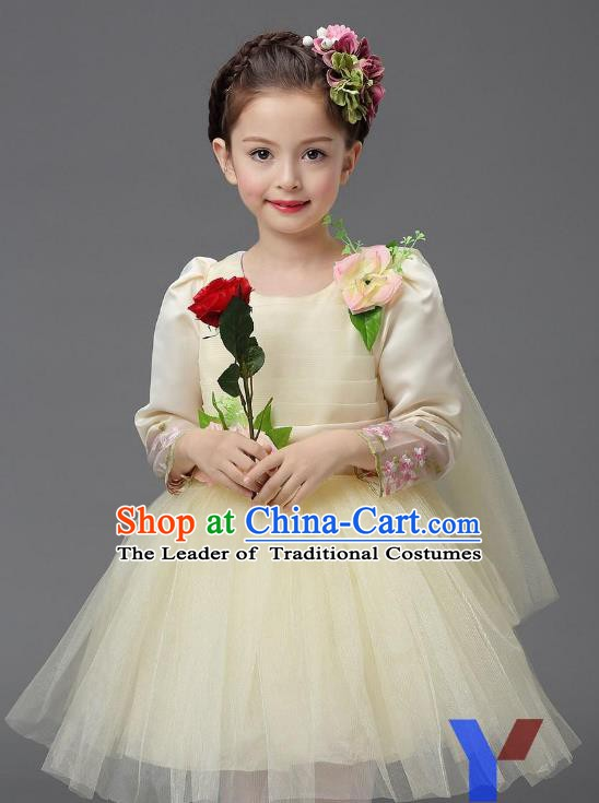 Top Grade Modern Dance Costume, Children Chorus Singing Group Dance Beige Veil Dress for Kids