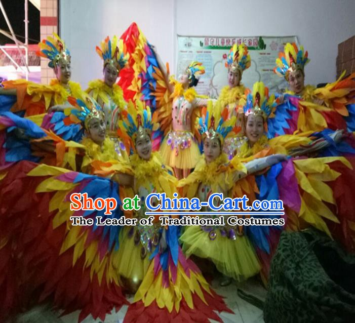 Top Grade Children Stage Performance Costume, Professional Cosplay Feather Wings Dance Clothing for Kids