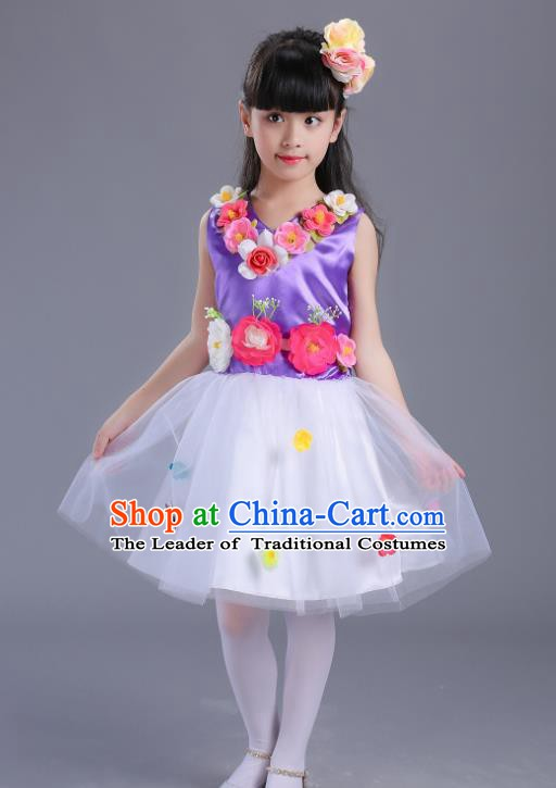 Top Grade Flower Faerie Modern Dance Costume, Children Chorus Singing Group Dance Purple Dress for Kids