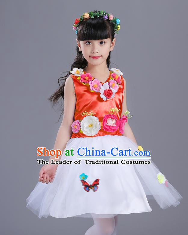 Top Grade Flower Faerie Modern Dance Costume, Children Chorus Singing Group Dance Red Dress for Kids