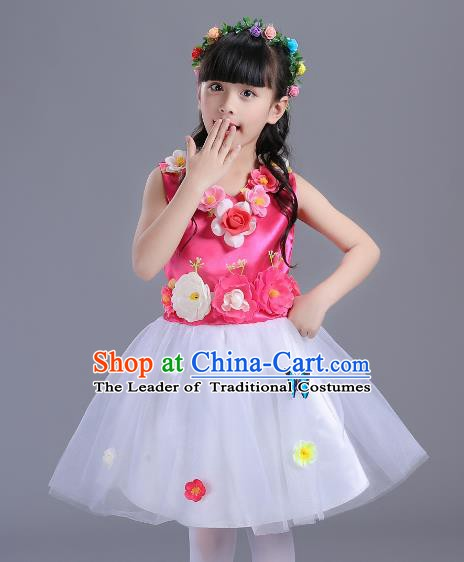 Top Grade Flower Faerie Modern Dance Costume, Children Chorus Singing Group Dance Pink Dress for Kids